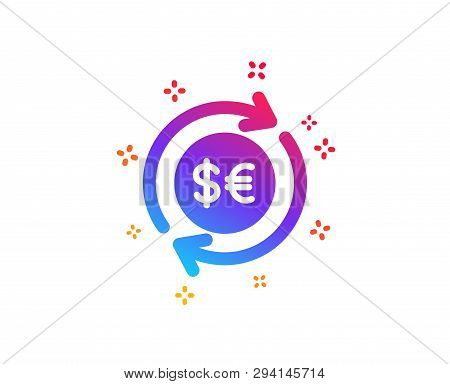 Money Exchange Icon. Banking Currency Sign. Euro And Dollar Cash Transfer Symbol. Dynamic Shapes. Gr