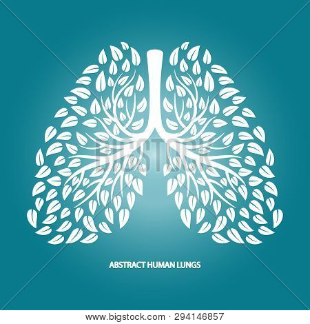 Abstract Human Lungs From Foliage Vector Background. Illustration Of Silhouette White Foliage, Thora