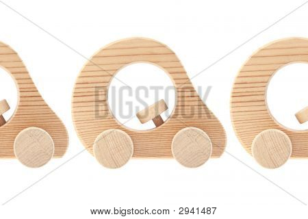 Three Wooden Toy Cars