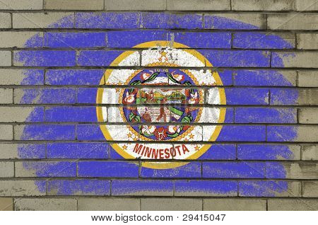 Grunge Flag Of Us State Of Minnesota On Brick Wall Painted With Chalk