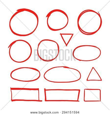 Red Hand Drawn Shapes Marker For Highlighting Text Isolated On White Background. Marker Red Drawing,