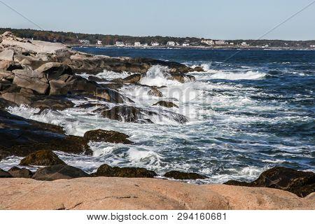 YORK, MAINE, USA - OCTOBER 10, 2016 : Coastal view near Cape Neddick