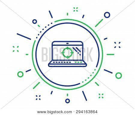 Seo Laptop Line Icon. Search Engine Optimization Sign. Aim Target Symbol. Quality Design Elements. T