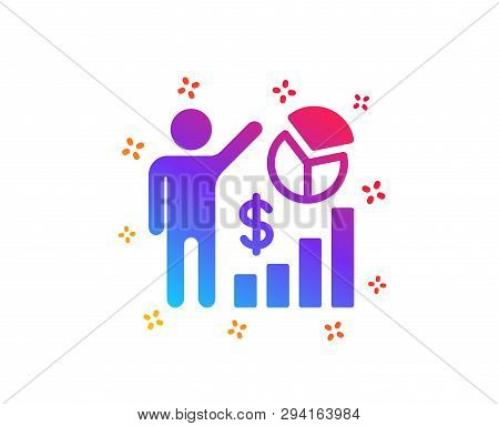Seo Statistics Icon. Search Engine Optimization Sign. Analytics Chart Symbol. Dynamic Shapes. Gradie