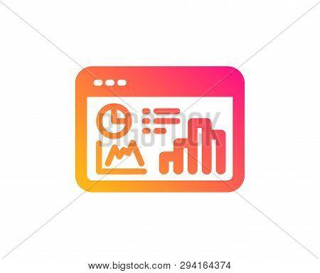 Seo Statistics Icon. Search Engine Optimization Sign. Analytics Chart Symbol. Classic Flat Style. Gr