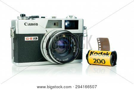 Niedersachsen, Germany April 8, 2019: A Canon Canonet 17 G-iii Ql Retro Rangefinder Analog Camera Wi