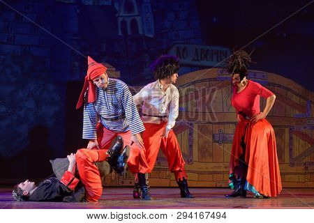 ST. PETERSBURG, RUSSIA - MARCH 25, 2019: Actors perform Robbers in the musical Town Musicians of Bremen during its press preview in Saint-Petersburg theater Music-Hall