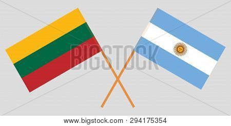 Argentina And Lithuania. The Argentinean And Lithuanian Flags. Official Colors. Correct Proportion.