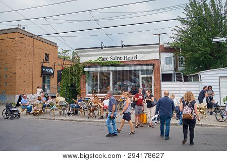 Montreal, Quebec, Canada September 29, 2018: Restaurants Near Jean Talon Poutine. With People On The