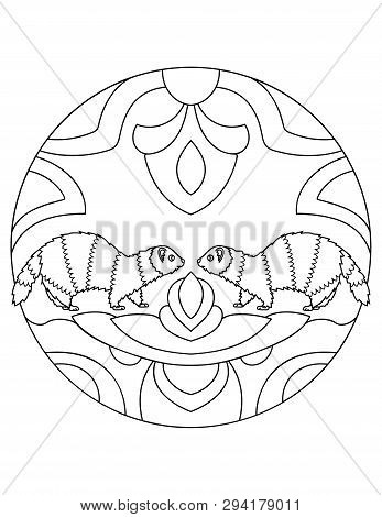Pattern With Ferrets. Illustration With A Ferret. Mandala With An Animal. Polecat In A Circular Fram
