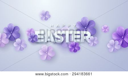 Happy Easter. Vector Holiday Illustration. Christian Religious Event. Easter Sale Banner With Purple