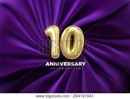 10 Anniversary Celebration. Golden Number 10 On Purple Draped Textile Background. Vector Festive Ill