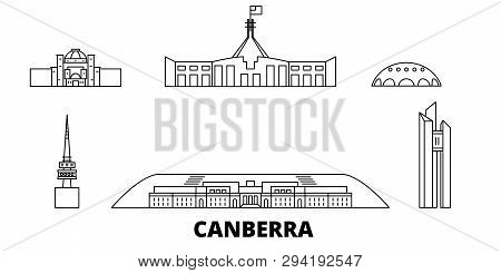 Australia, Canberra Line Travel Skyline Set. Australia, Canberra Outline City Vector Illustration, S
