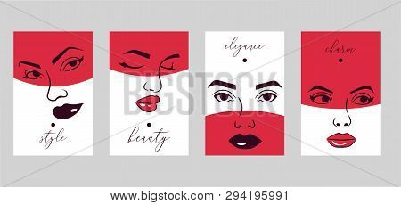 Woman Face Set Of Cards, Banners Vector Illustration. Beauty Design For Salon, Make Up Artist Course