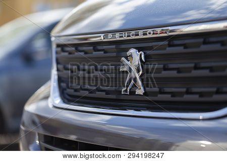 Nuremberg / Germany - April 7, 2019: Peugeot Logo On A Peugeot Car At A Car Dealer In Nuremberg.