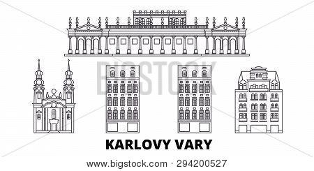 Czech Republic, Karlovy Vary Line Travel Skyline Set. Czech Republic, Karlovy Vary Outline City Vect