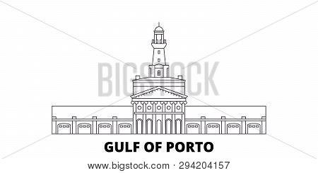 France, Corsica, Gulf Of Porto Line Travel Skyline Set. France, Corsica, Gulf Of Porto Outline City