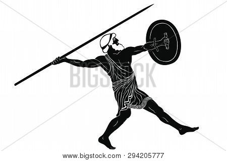Ancient Greek Warrior With A Spear And Shield In His Hands Is Ready To Attack. Vector Illustration I