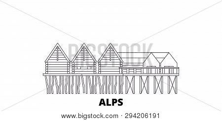Germany, Alps, Prehistoric Pile Dwellings Line Travel Skyline Set. Germany, Alps, Prehistoric Pile D