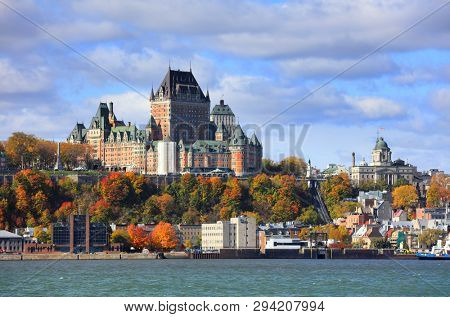 Château Frontenac , Quebec city, CANADA - October 14 , 2018 -The Château Frontenac is one of Canada's grand railway hotels built by the Canadian Pacific Railway.
