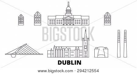 Irland, Dublin Line Travel Skyline Set. Irland, Dublin Outline City Vector Illustration, Symbol, Tra