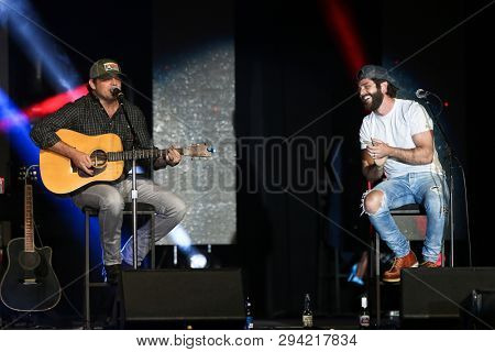 LAS VEGAS - APR 5: Rhett Akins (L) and Thomas Rhett attend the ACM Stories, Songs & Stars at the Marquee Ballroom at the MGM Grand Hotel & Casino on April 5, 2019 in Las Vegas, Nevada.