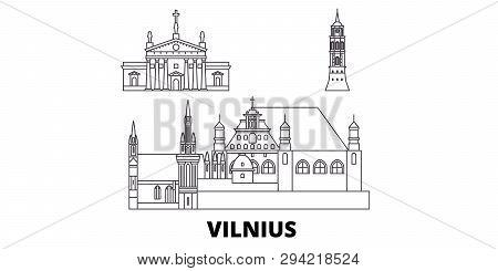 Lithuania, Vilnius Line Travel Skyline Set. Lithuania, Vilnius Outline City Vector Illustration, Sym