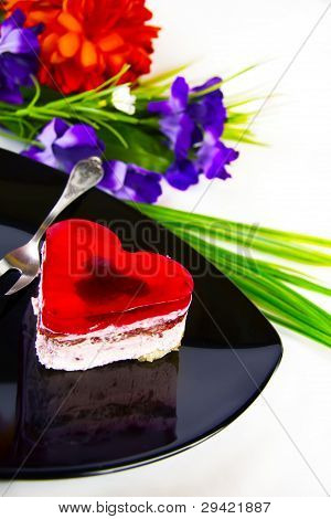 Cake In The Shape Of Red Heart