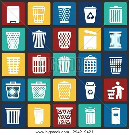 Trash Bin Icons Set On Color Squres Background For Graphic And Web Design. Simple Vector Sign. Inter