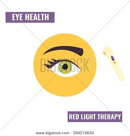 Illustration Of Eye Treatment By Red Light Therapy. Healthcare Icon