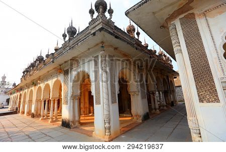 Beautiful architecture of historic Paigah tombs ruins in Hyderabad, India