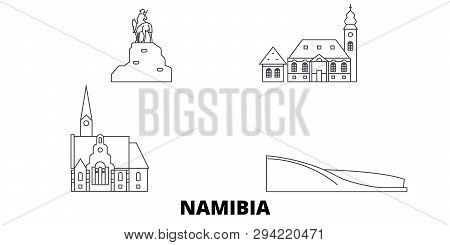 Namibia Line Travel Skyline Set. Namibia Outline City Vector Illustration, Symbol, Travel Sights, La