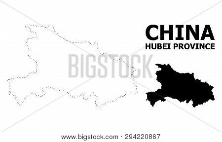 Vector Contour Map Of Hubei Province With Caption. Map Of Hubei Province Is Isolated On A White Back