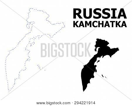 Vector Contour Map Of Kamchatka Peninsula With Name. Map Of Kamchatka Peninsula Is Isolated On A Whi