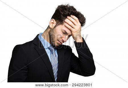 Desperate businessman, financial crisis concept