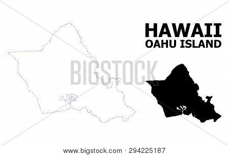 Vector Contour Map Of Oahu Island With Name. Map Of Oahu Island Is Isolated On A White Background. S