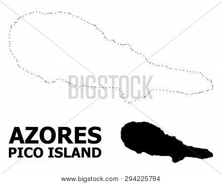 Vector Contour Map Of Pico Island With Name. Map Of Pico Island Is Isolated On A White Background. S