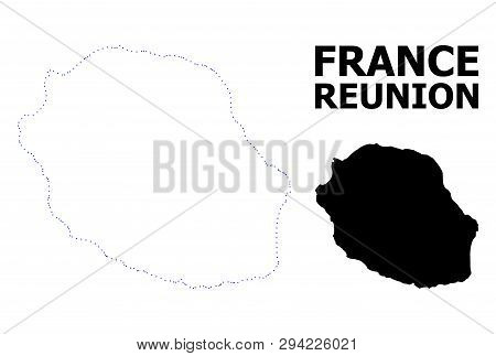 Vector Contour Map Of Reunion Island With Caption. Map Of Reunion Island Is Isolated On A White Back