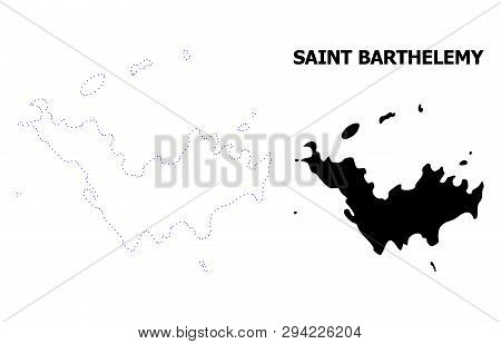 Vector Contour Map Of Saint Barthelemy With Title. Map Of Saint Barthelemy Is Isolated On A White Ba