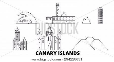 Spain, Canary Islands Line Travel Skyline Set. Spain, Canary Islands Outline City Vector Illustratio