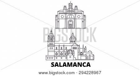 Spain, Salamanca Line Travel Skyline Set. Spain, Salamanca Outline City Vector Illustration, Symbol,
