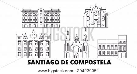 Spain, Santiago De Compostela Line Travel Skyline Set. Spain, Santiago De Compostela Outline City Ve