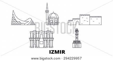 Turkey, Izmir Line Travel Skyline Set. Turkey, Izmir Outline City Vector Illustration, Symbol, Trave