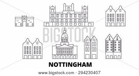 United Kingdom, Nottingham Line Travel Skyline Set. United Kingdom, Nottingham Outline City Vector I