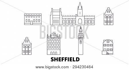United Kingdom, Sheffield Line Travel Skyline Set. United Kingdom, Sheffield Outline City Vector Ill