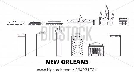 United States, New Orleans Line Travel Skyline Set. United States, New Orleans Outline City Vector I