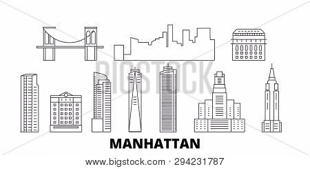 United States, New York Manhattan Line Travel Skyline Set. United States, New York Manhattan Outline