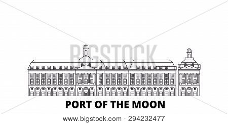 France, Bordeaux, Port Of The Moon Landmark line travel skyline set. France, Bordeaux, Port Of The Moon Landmark outline city vector illustration, symbol, travel sights, landmarks. poster