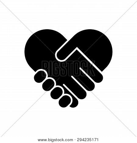 Handshake Flat Vector Icon. Friendship Flat Vector Icon. Heart Flat Vector Icon. Handshake Flat Vect