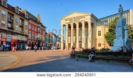 SUBOTICA, SERBIA - JULY 25, 2018: Subotica central square with National Theater building